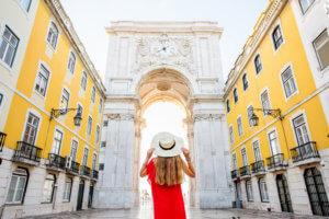 A tourist visiting Lisbon